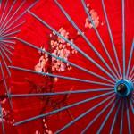 Menghan, Dai Theme Park, chińskie czerwone parasolki